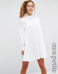 Asos Petite Long Sleeve Cotton Pleated Dress White