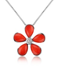 Del Gatto Diamond Gemstone Flower 18K Gold Pendant Necklace Red Coral