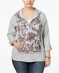 Styleandco. Style Co. Plus Size Printed Half Zip Hoodie Only At Macy's Light Grey Heather