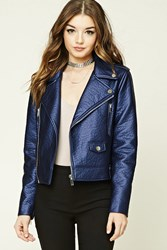 Forever 21 Faux Leather Moto Jacket Navy