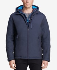 Vry Wrm Men's Turbo Hooded Puffer Bib Coat Winter Navy