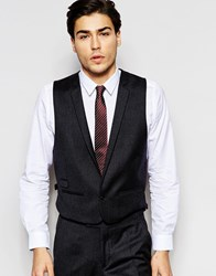 Hart Hollywood By Nick Hart 100 Wool Waistcoat In Slim Fit Grey
