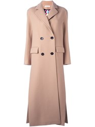 Emilio Pucci Long Double Breasted Coat Nude And Neutrals