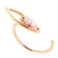 Vanessa Leu Fine Jewelry Single Mini Hoop Earring 18K Rose Gold And White Sapphire