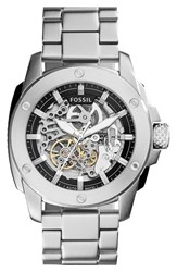 Women's Fossil 'Modern Machine' Skeleton Dial Bracelet Watch 50Mm Silver