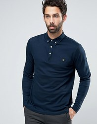 Farah Polo With Long Sleeves In Textured Stripe Slim Fit Navy Navy