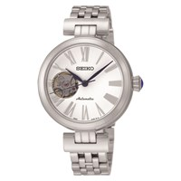 Seiko Ssa863k1 Women's Mechanical Skeleton Bracelet Strap Watch Silver White