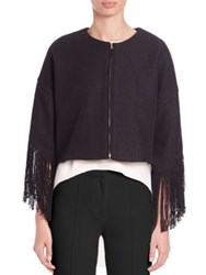 Adam By Adam Lippes Cropped Fringe Trim Jacket