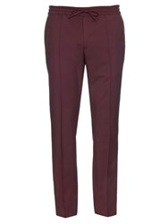 Valentino Wool And Mohair Blend Track Pants Burgundy