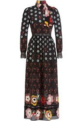 Red Valentino Printed Silk Chiffon Dress With Lace Multicolor