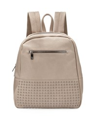 Neiman Marcus Classic Studded Faux Leather Backpack Stone Grey