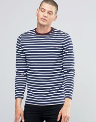 Fred Perry Long Sleeved Breton Stripe T Shirt In French Navy French Navy