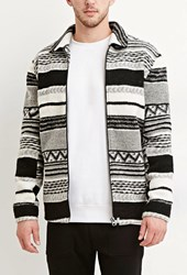 Forever 21 Geo Wool Blend Jacket Cream Black