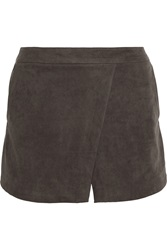 Halston Faux Suede Shorts Gray