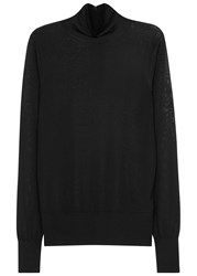 Dkny Black Semi Sheer Stretch Knit Jumper