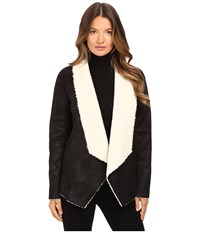 The Kooples Gilet In Faux Treated Sheepskin Black Women's Coat