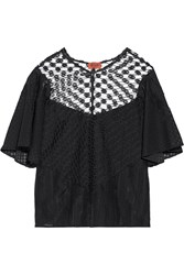Missoni Lace Textured Cotton Blend And Crochet Knit Top Black