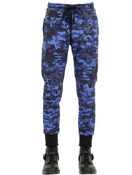 Markus Lupfer Camo Printed Cotton Jogging Pants Blue