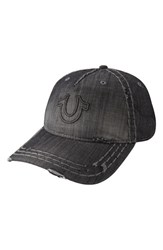 Men's True Religion Brand Jeans 'Distressed Horseshoe' Baseball Cap Black
