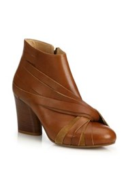 Maison Martin Margiela Twisted Leather Stacked Heel Booties Brown