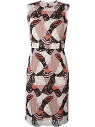Emilio Pucci Embroidered Lips Sheath Dress Multicolour