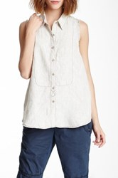 Marrakech Linen Collared Tank White