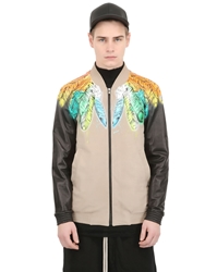 Black Dioniso Feather Printed Leather Bomber Jacket Sand Black