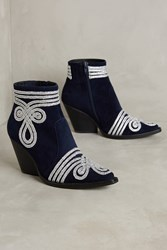 Anthropologie Jeffrey Campbell Gatlin Ankle Booties Navy