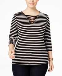 Inc International Concepts Plus Size Lace Up Striped Top Only At Macy's Deep Black