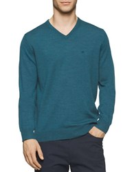 Calvin Klein Solid Merino Wool V Neck Sweater Zola