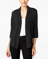 Ny Collection Petite Pointelle Cardigan Black
