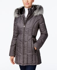 Nautica Faux Fur Trim Hooded Puffer Coat Chrome