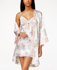 Morgan Taylor Floral Print Satin Wrap Robe Only At Macy's