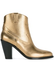 Saint Laurent 'Curtis 80' Western Ankle Boots Metallic