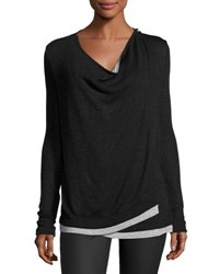 Three Dots Cheyanne Crossover Knit Top Black