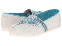 Toms Seasonal Classics Light Grey Canvas Beaded Embroidery Women's Slip On Shoes White