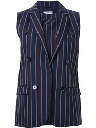 22 4 By Stephanie Hahn Pinstriped Double Breasted Waistcoat Blue