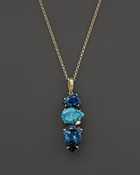 Vianna Brasil 18K Yellow Gold Pendant Necklace With Amazonite London Blue Topaz And Diamond Accents 16.5 Blue Gold