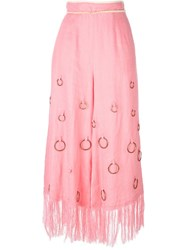 Msgm Wide Leg Frilled Trousers Pink And Purple