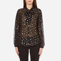Maison Scotch Women's Sheer Printed Top With Neck Tie Black