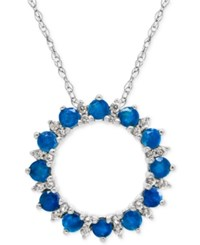 Macy's Blue Topaz 1 Ct. T.W. And White Topaz 1 5 Ct. T.W. Circle Pendant Necklace In Sterling Silver