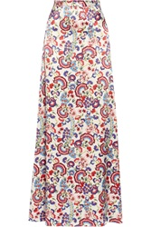 Alice By Temperley Lou Lou Floral Print Satin Maxi Skirt Pink