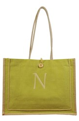 Cathy's Concepts 'Newport' Personalized Jute Tote Green Green N