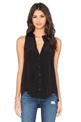Bella Luxx Pleat Back Button Up Tank Black