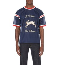 Gucci Embroidered Hockey Mesh T Shirt Navy