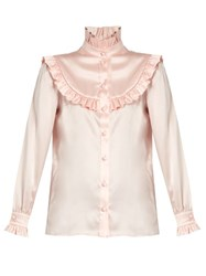 Saint Laurent Ruffle Trimmed Silk Satin Blouse Light Pink