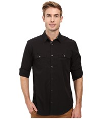 Calvin Klein Long Sleeve Solid Poplin Shirt Black Men's Long Sleeve Button Up