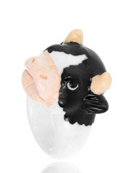Nach Black And White Cow Porcelain Ring