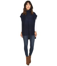Bcbgeneration Turtleneck Purl Poncho Deep Blue Women's Clothing