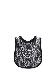 Mini Maniacs 'Dolled Up' Faux Pearl Necklace Lace Bib Black
